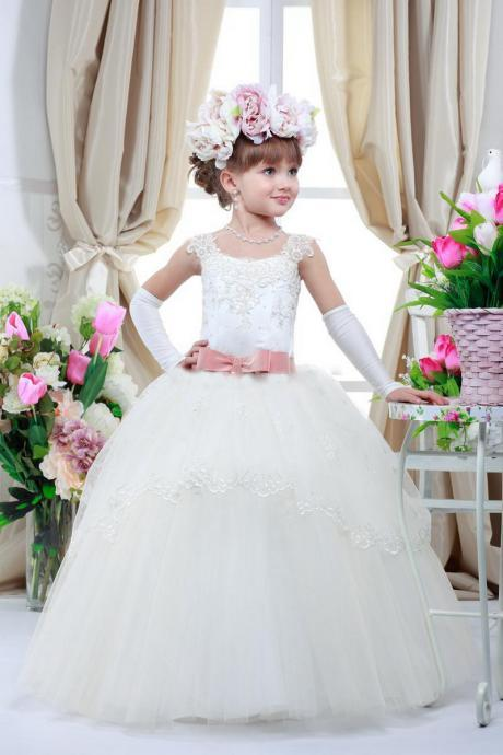 Cute Kid Pageant Dresses For Wedding Birthday Party Gifts Elegant Appliques Belt Communie Toddler Ball Gowns Flower Girl Dresses