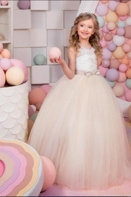 2020 Hot Sale Holy Communion Dress Tulle Bow Belt Ball Gown Flower Girl Dresses for Weddings Girls Pageant Gowns