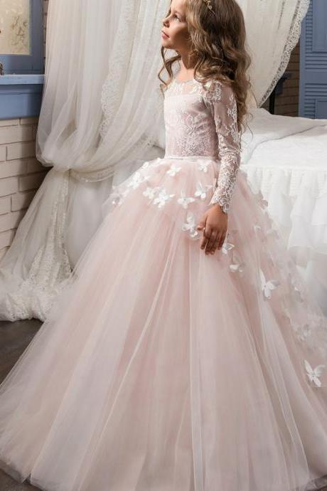 Vestido De Daminha Holy Communion Dresses Ball Gown Long Sleeves Lace Back Button Solid O-neck Flower Girl Dresses