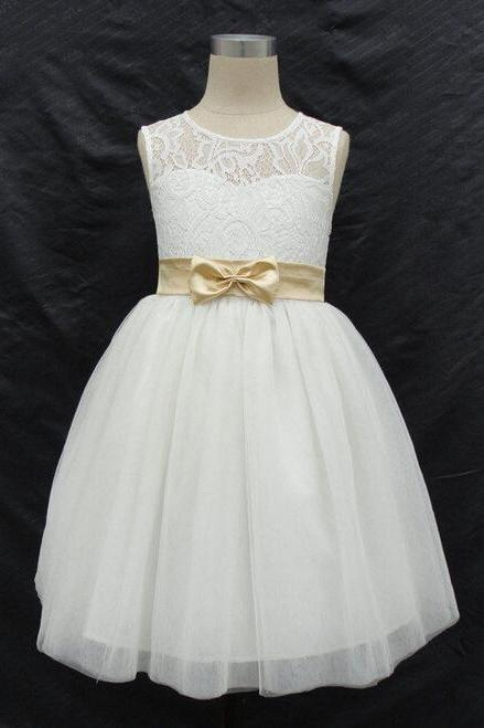 2020 Brand New Real Flower Girl Dresses with Bow Keyhole Back Party Pageant Dress for Little Girls KidsChildren Communion Dress