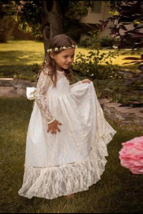 2020 New Floor Length Flower Girl Dresses with Long Sleeves Party Pageant Dress for Little Girls KidsChildren Dress for Wedding