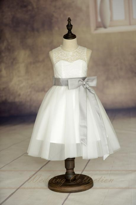 2020 New Communion Dresses with Bows Sashes Little Girls KidsChildren Dress Ball Party Pageant Flower Girl Dresses for Wedding