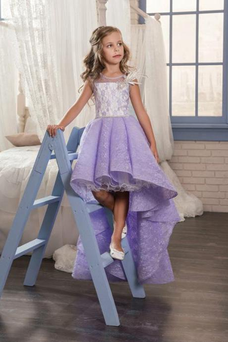 2020 Lace Princess Floor Length First Communion Dresses Purple Elegant Birthday Graduation Party Gowns