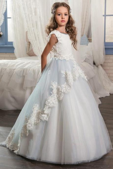 2018 NEW Long Pageant Dresses For Girls Glitz Lace Train Beautiful Ball Gown Puffy Kids Prom Dress Children Graduation Gown