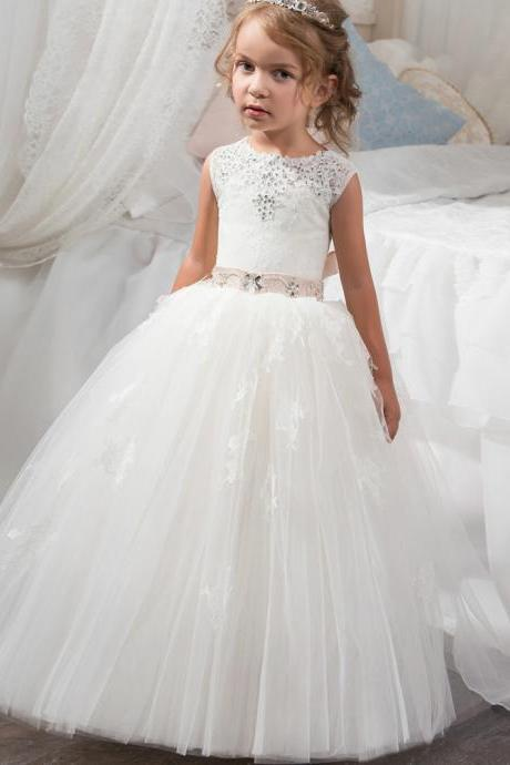 Beautiful Holy Communion Dress Ball Gown for Girls Size 6 8 Long Puffy Tulle Prom Dress Children with Sash Vestido de Daminha