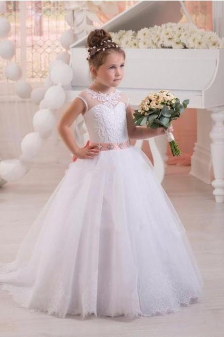 2020 New White Flower Girl Dresses For Wedding With Belt Cap-sleeves Tulle with Appliques First Communion Dresses for Girls