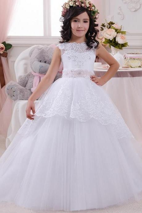 2020 New Arrival White Lace Ball Gown Flower Girl Dresses Lovely Pink Sashes Tulle Beading First Communion Dresses for Girls