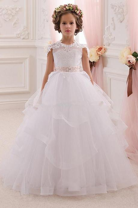 2020 Hot Pretty White Lace Flower Girl Dresses With Belt Tired Tulle Floor Length Girls Ball Gown First Communion Dress Custom