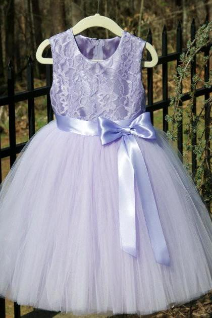 2018 NEW Light Purple Flower Girl Dresses With Bow High Neck Floor Length Tulle Little Kids Communion Dress