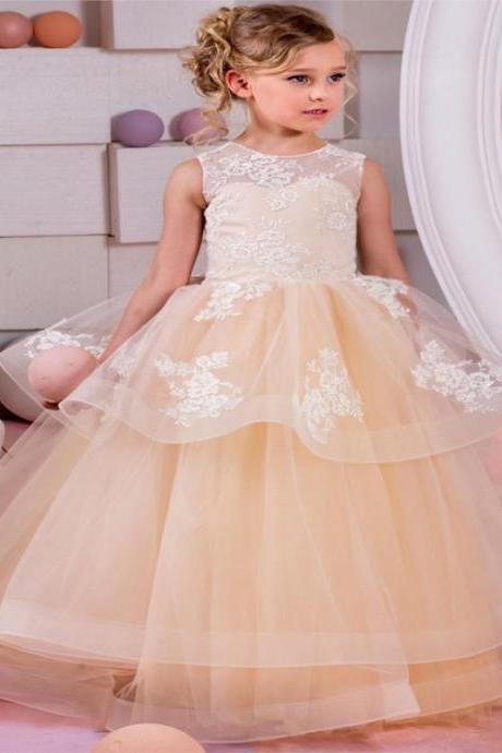 2018 Champagne Lace Puffy Flower Girl Dress for Weddings Tulle Ball Gown Baby Girl Party Communion Dress Pageant Gown lace up