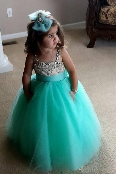 2020 Hot Sale Tulle Ball Gown Flower Girl Dress Kids Custom Made Prom Dress Princess Crystal Beading Gown For Little Girl