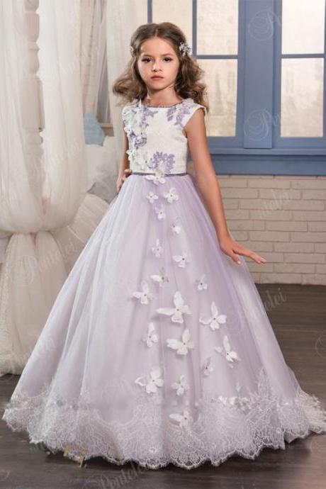 2020 Princess Purple Lace Flower Girls Dresses For Weddings Beads Appliques First Communion Gowns Floor Length Custom Made
