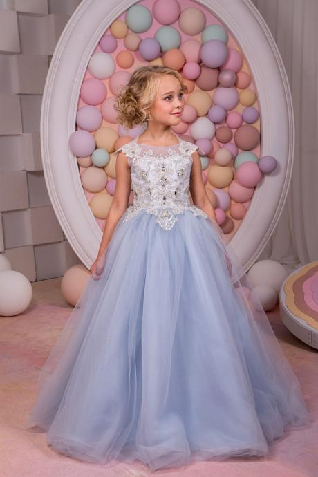 New Arrival Vintage Communion Dresses Blue Crystal Ball Gown O-neck Sleeveless Lace Up Formal First Pageant Flower Girl Gowns