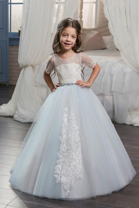 New First Communion Pageant Birthday Dresses Three Quarter Appliques Lace Up Flower Girl Dresses Vestidos Longo Custom Make