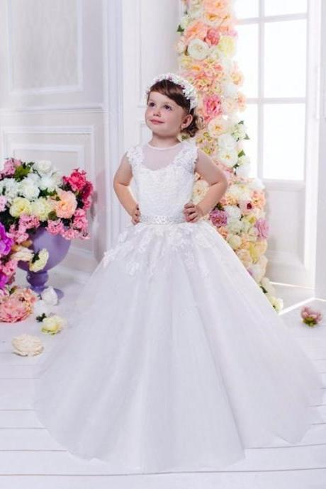 Holy Flower Girl Dresses Open Back First Communion Dress Beaded Floor Length Lace Girl's Party Gowns Hot Sale Vestidos