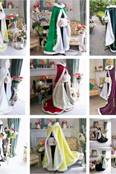 2020 Fall Winter Victorian Style Long Bridal Capes Satin Faux Fur Trim Wedding Cloaks Cheap In Stock