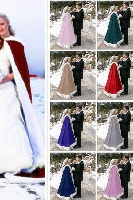 2020 Romatic Hooded Bridal Cape Ivory White Long Wedding Cloaks Faux Fur With Satin For Winter Wedding Bridal Wraps Bolero