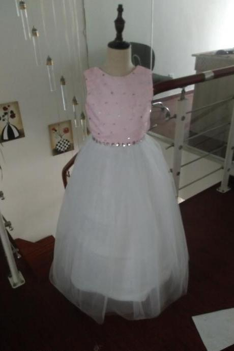 Sparkling Pink Flower Girl Dresses beaded crystal ball gown for kids holy communion dresses girls pageant Gown