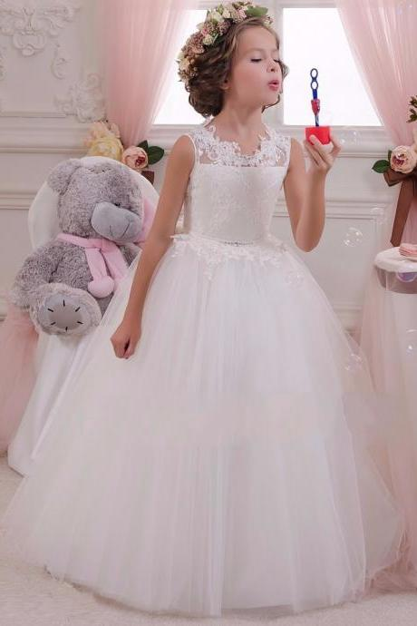 2020 White Flower Girl Dress Kids Ball Gowns First Communion Dresses Pageant Girls Glitz Scoop Sleeveless Floor length Tulle