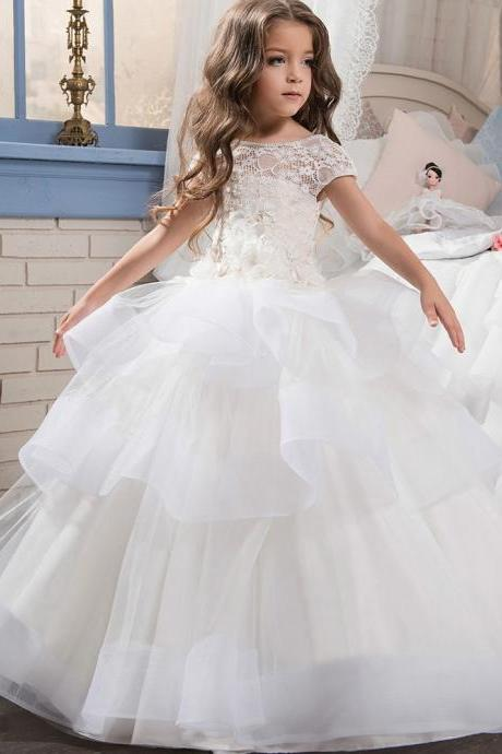 Elegant Custom First Holy White Communion Dresses for Girls Tiered Puffy Tulle Kids Communion Pageant Gown with Short Sleeves