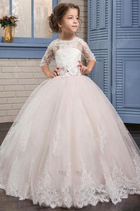 2020 White Flower Girl Dresses Ball Gown with Appliques For Little Girl Birthday Party Dress First Communion Dresses for Girls
