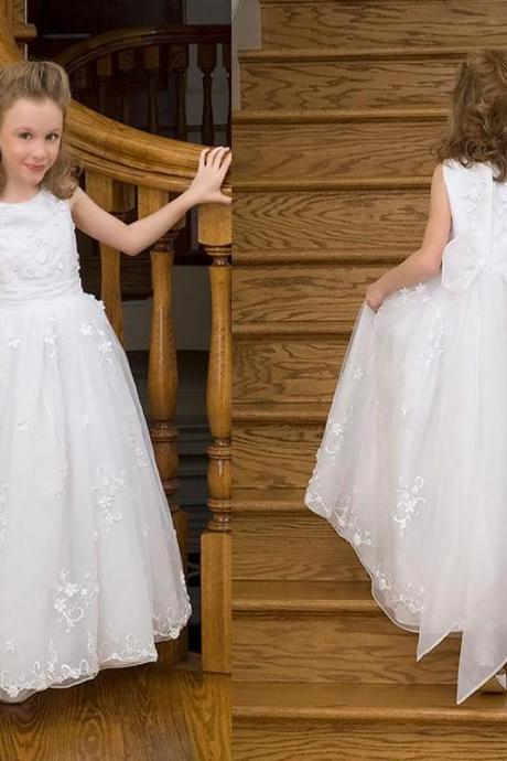 Round Neck Organza Sweep Train A-Line White Comunion Flower Girl Dresses Bow Custom Made Child Size 2-14