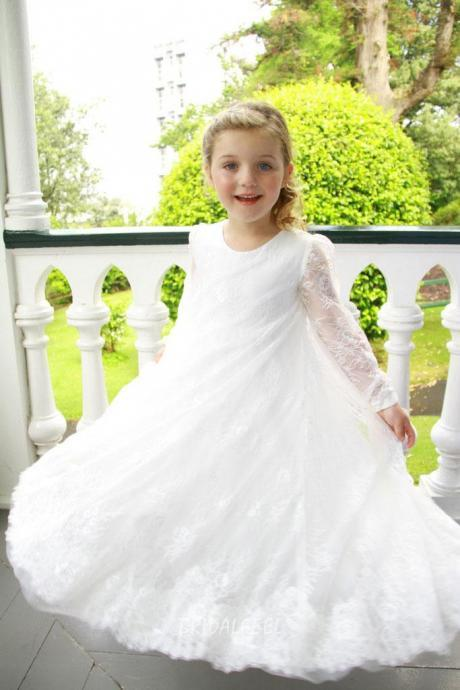 2018 Flower Girl Dresses Lace Ankle Length Long Sleeves A-Line O-Neck Daughter Party Girl Dress Child Size 2-14 Custom Make