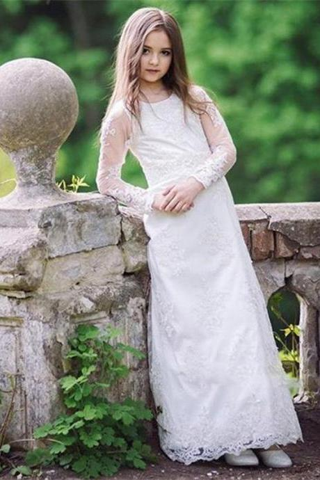 2020 White Ivory Lace Flower Girl Dresses Long Sleeve Floor Length Party Gown Birthday Communion Toddler Kids Dresses