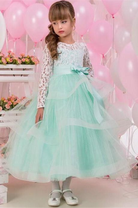 Mint Skirt Flower Girls Dresses Long Sleeves Soft Ivory Lace Appliques Bow Wedding Girl Wear First Communion Dress