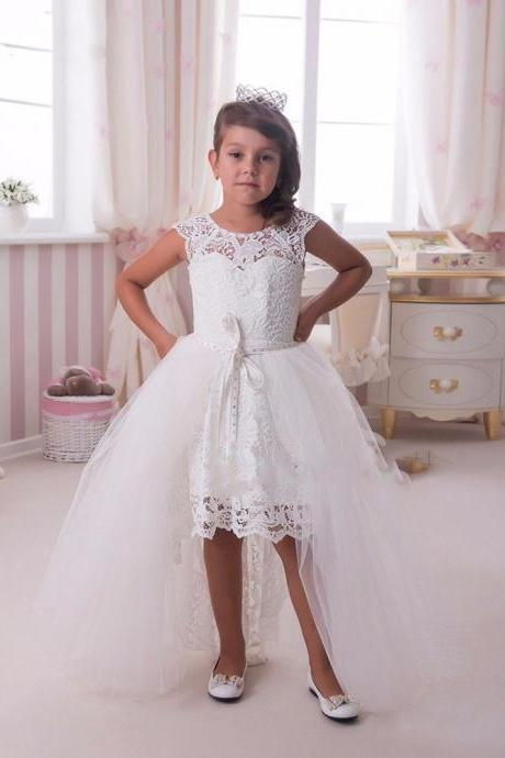 White Lace first communion dresses for girls with detachable train Elegant Hi-Lo flower girl dresses kids prom dresses