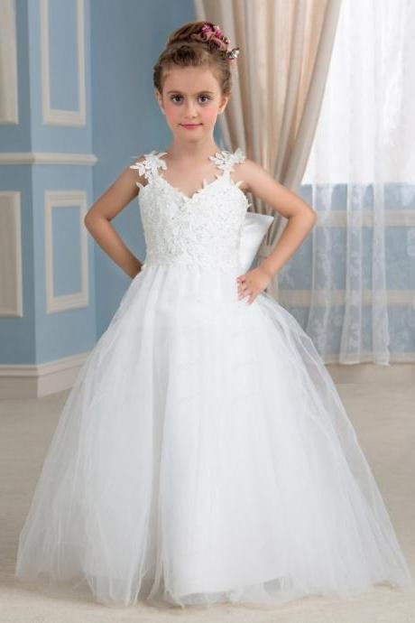 2020 New Cheap White Lace Ball Gown Flower Girl Dresses With Beads Floor Length Tulle Little Girl Dress For Weddings