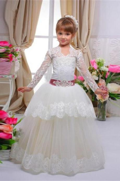 Long Sleeves Sash Lace Ball Gown Baby Girl Birthday Party Christmas Princess Dresses Children Flower Girl Dresses
