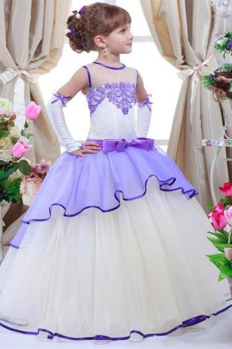 Elegant Lace Appliques Ball Gown Flower Girl Dresses 2017 Sleeveless Lace Up Back First Communion Dresses For Girls