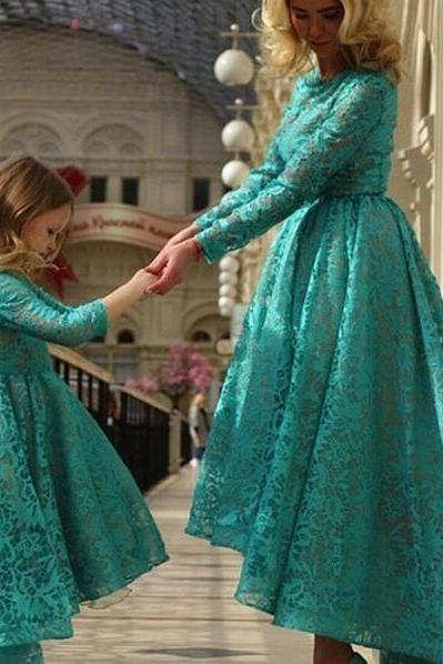 Charming Daughter Girl's High Low Lace Formal Prom Evening Dress Floor Length Long Sleeves Birthday Party Dress for Girls