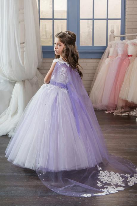 2018 Pretty Lace Applique Long Pageant Dresses for Little Girls Glitz with Cape Kids Puffy Prom Dress Flower Girl Dresses Purple