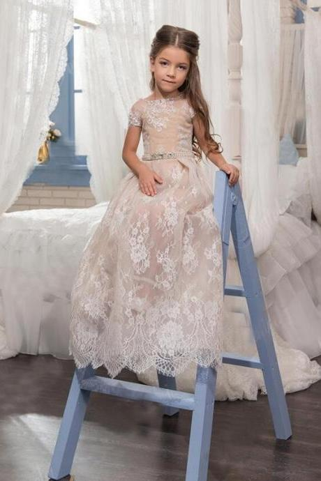 Lace Flower Girls Dresses For Party And Wedding Floor-length Short Sleeve O Neck Children With Pearl Sash Girls Pageant Dress
