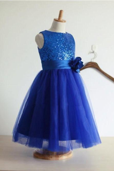 2020 A-line royal blue glitter sequin flower girl dress with handmade flower blue little girls party sequin dress tulle skirt