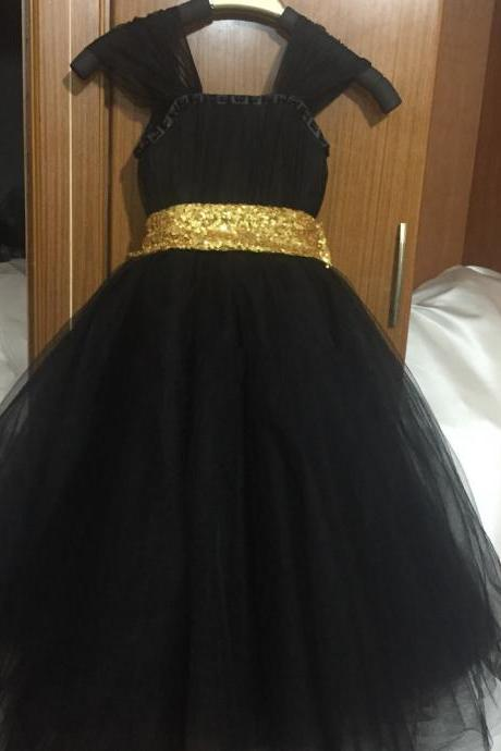 customised tulle cap sleeve beaded long ball gown black sequin dress girls pretty gold sequin black little flower girl dresses