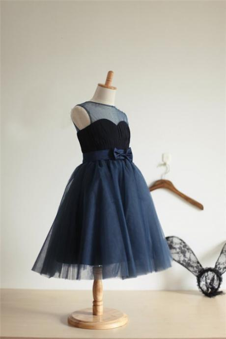 navy blue sweetheart flowergirl dress for kids elegant bow girls 8th graduation party dresses kids vestido size12 14