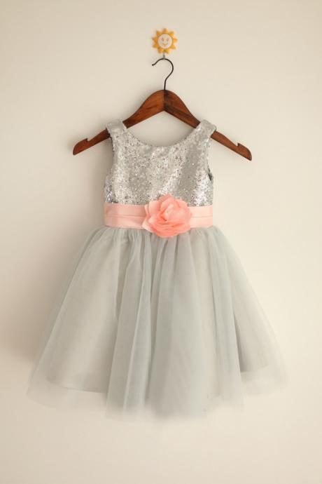 2020 a-line glitter silver flower girl dresses with handmade pink sash tulle skirt toddler girls party sequin dress