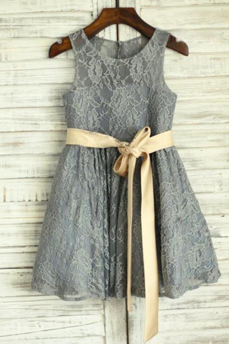 Grey lace flower girl dress with gold belt A-line lace grey little flower girls dresses for wedding