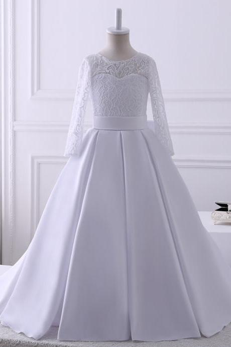 Hot Sale Real Pics Top Lace Sstin Flower Girl Dresses For Wedding Floor Length Long Sleeves Kids Wedding Party Gown Custom Made