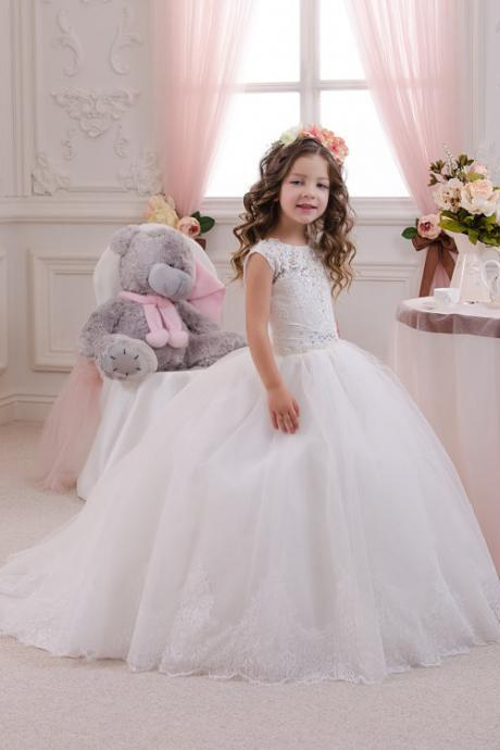 2020 New Ball Gown Cap Sleeve White Lace Flower Girl Dresses First Communion Dresses For Girls vestidos de primera comunion