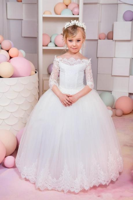 2018 New Ball Gown Flower Girls Dresses Long Sleeve Tulle White Lace First Communion Kids Girl Pageant Dresses Party Gowns