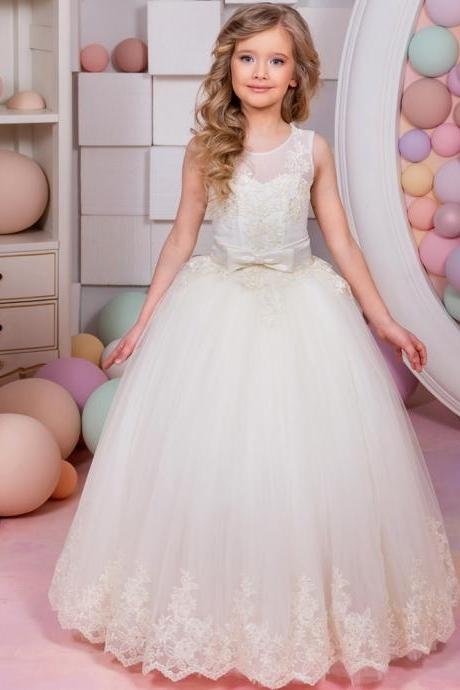 2020 New Arrival Flower Girl Dresses Sleeveless Lace Up Bow Belt Ball Gown First Communion Gowns Vestidos Longo for Weddings