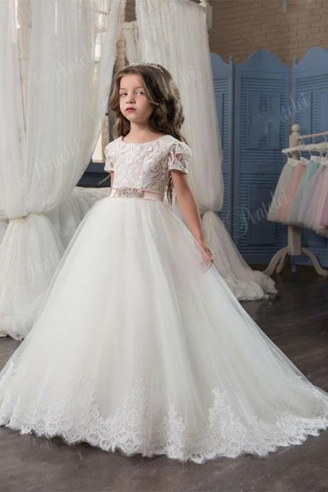 Hot Sale New Arrival Elegant Flower Girl Dress For Wedding Lace Appliques With Sash Short Sleeve Ball Gown Girl's Pageant Gowns