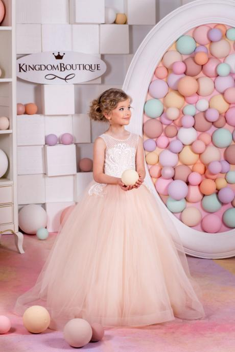 2020 New Blush Little Girls Pageant Dresses Child Detachable Train Ball Gown Kids Flower Girl Dresses for Weddings