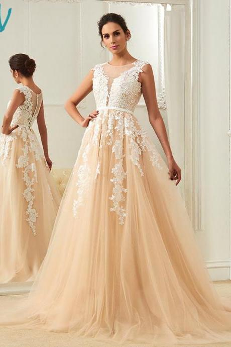champagne wedding dress scoop neck a line appliques court train bridal gowns elegant long outdoor&church wedding dresses
