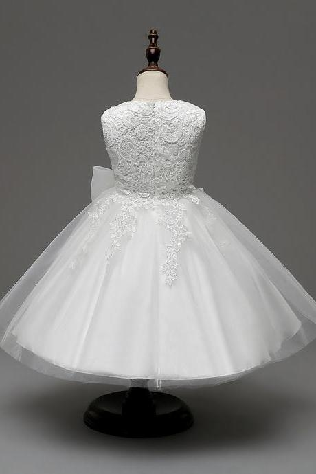 2020 Cute O-Neck Sleeveless Flowers Girls Dresses Bow Appliques For First Communion Lace Ball Gown