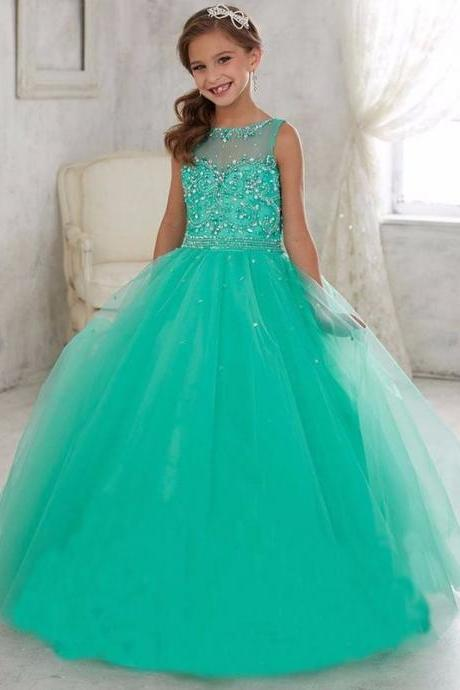 Ball Gown Green Crystal Beads Flower Girl Dresses Floor Length Corest Back First Communion Dresses For Girls Kids Prom Dress